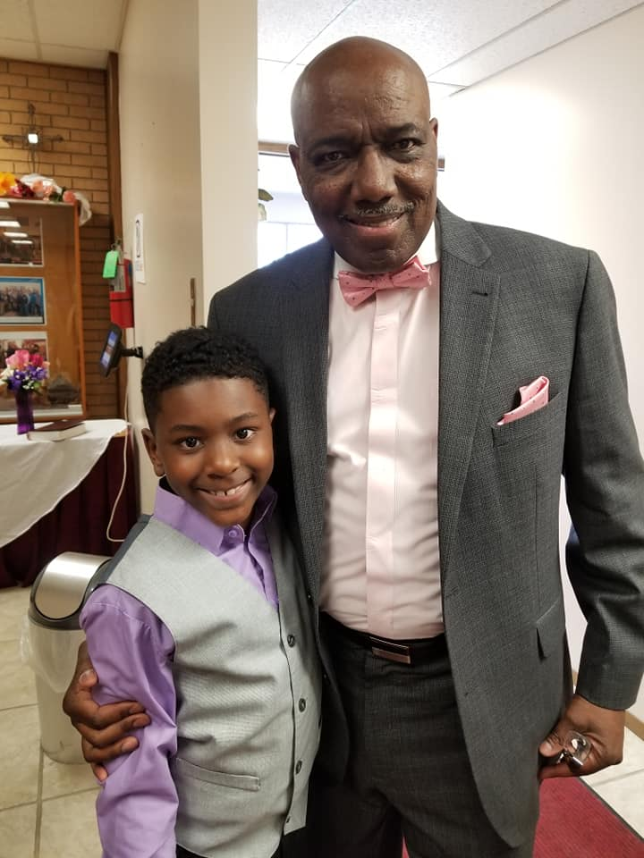 Pastor Obleton with a young ministry worshiper